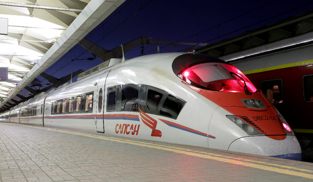 arrives: Aeroexpress Train Sapsan at the Leningrad station (night). Moscow, Russia -- high-speed train acquired OAO Russian Railways for use on the Russian high-speed railways -