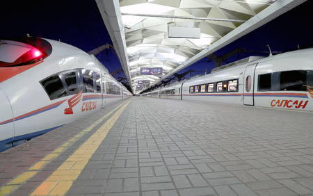 acquired: Aeroexpress Train Sapsan at the Leningrad station (night). Moscow, Russia -- high-speed train acquired OAO Russian Railways for use on the Russian high-speed railways -