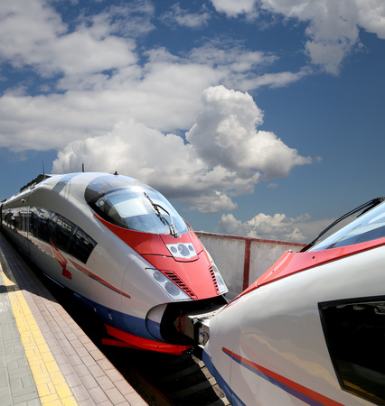 acquired: Aeroexpress Train Sapsan against the sky-- high-speed train acquired OAO Russian Railways for use on the Russian high-speed railways