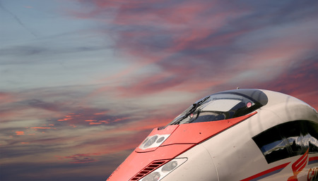 highspeed: Aeroexpress Train Sapsan against the sky-- high-speed train acquired OAO Russian Railways for use on the Russian high-speed railways