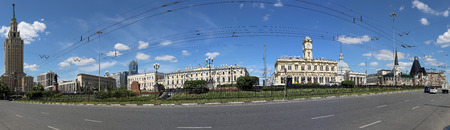 kazansky: Panorama of the Komsomolskaya Square (Three Station Square or simply Three Stations) thanks to three ornate railway terminal situated there: Leningradsky, Yaroslavsky, and Kazansky. Moscow, Russia