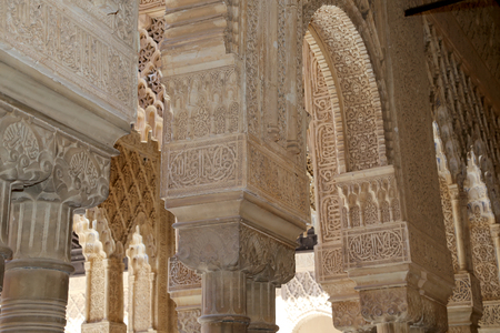 spanish ethnicity: Arches in Islamic (Moorish)  style in Alhambra, Granada, Spain