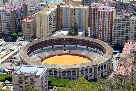 plaza de toros: View of Malaga with the Plaza de Toros (bullring) from the aerial view, Spain