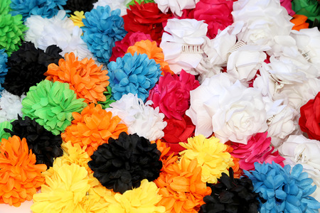 artificial hair: Traditional artificial flowers for hair ornaments. Malaga, Andalusia, Spain