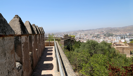 declared: Gibralfaro Castle in Malaga, Andalusia, Spain. The place is declared UNESCO World Heritage Site Editorial