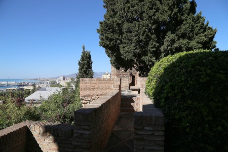 declared: Alcazaba castle on Gibralfaro mountain. Malaga, Andalusia, Spain. The place is declared UNESCO World Heritage Site