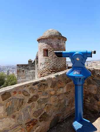 declared: Telescope viewer overlooking the Gibralfaro Castle in Malaga, Andalusia, Spain. The place is declared UNESCO World Heritage Site