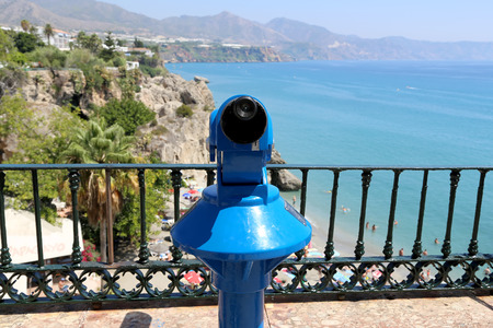 balcon: Telescope viewer overlooking from Balcon de Europa in Nerja, Andalusia, Spain. It is on the country southern Mediterranean coast, about 50 km east of Malaga