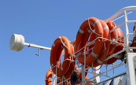 seaway: lifebuoys (Lifesavers) in the passenger ship