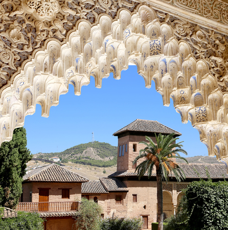 spanish ethnicity: Arches in Islamic (Moorish)  style and  Alhambra, Granada, Spain Editorial