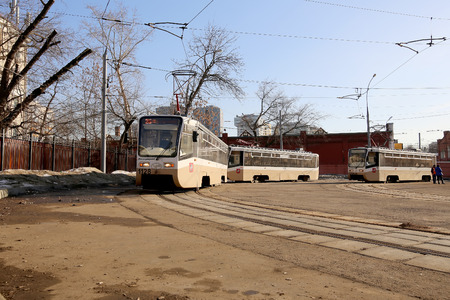 tramway: City tramway on the street, Moscow, Russia