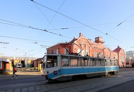 depot: Tram depot behalf of Apakova (It is written in Russian), opened August 4, 1909. , Moscow, Russia Editorial