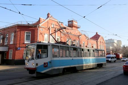 behalf: Tram depot behalf of Apakova (It is written in Russian), opened August 4, 1909. , Moscow, Russia Editorial