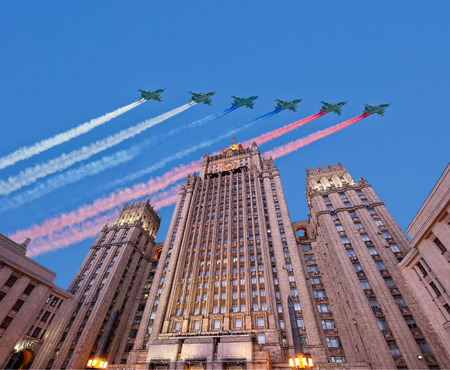 foreign affairs: Ministry of Foreign Affairs of the Russian Federation and Russian military aircrafts fly in formation, Moscow, Russia Editorial