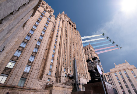 affairs: Ministry of Foreign Affairs of the Russian Federation and Russian military aircrafts fly in formation, Moscow, Russia Editorial
