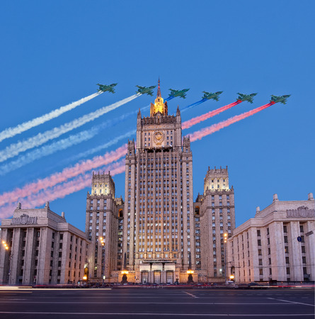 foreign policy: Ministry of Foreign Affairs of the Russian Federation and Russian military aircrafts fly in formation, Moscow, Russia Editorial