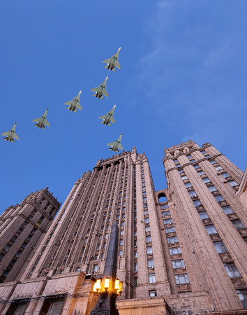 russian federation: Ministry of Foreign Affairs of the Russian Federation and Russian military aircrafts fly in formation, Moscow, Russia Editorial