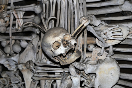 crypt: Sedlec Ossuary is a small Roman Catholic chapel, located beneath the Cemetery Church of All Saints in Sedlec, a suburb of Kutna Hora in the Czech Republic.The ossuary is among the most visited tourist attractions of the Czech Republic