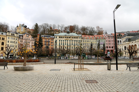 vary: Karlovy Vary (Carlsbad) -- famous spa city in western Bohemia, very popular tourist destination in Czech Republic Editorial