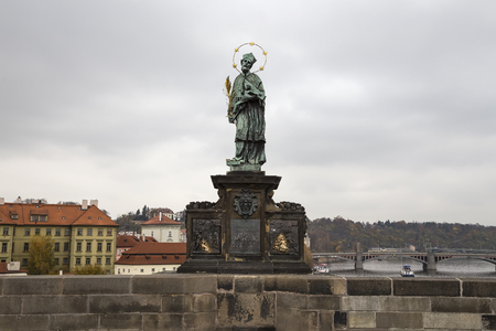 st charles: St. John of Nepomuk Statue (It is written on the Roman language) at Charles bridge, Prague, Czech Republic