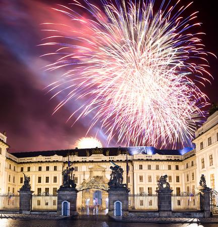matthias: Matthias Gate, at Hradcany Castle Prague at night and holiday fireworks, Czech republic