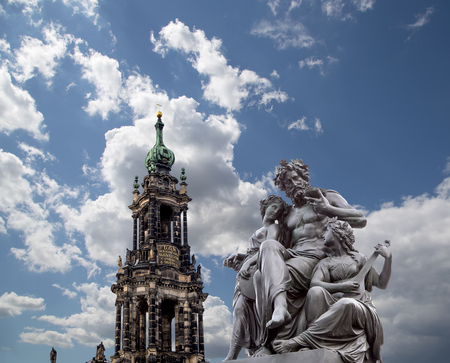 dresden: Sculpture on the Bruhl Terrace and  Hofkirche or Cathedral of Holy Trinity - baroque church in Dresden, Sachsen, Germany Stock Photo