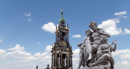 holy trinity: Sculpture on the Bruhl Terrace and  Hofkirche or Cathedral of Holy Trinity - baroque church in Dresden, Sachsen, Germany Stock Photo