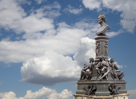 ensemble: Sculpture on the Bruhl Terrace, a historic architectural ensemble in Dresden,  Germany