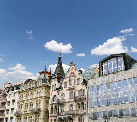 Karlovy Vary (Carlsbad) -- famous spa city in western Bohemia, very popular tourist destination in Czech Republic Stock Photo