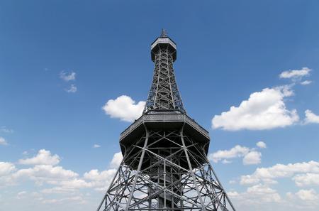 Petrin Lookout Tower (1892), resembling Eiffel tower, Petrin Hill Park, Prague, Czech Republic Editorial