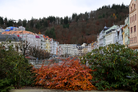 carlsbad: Karlovy Vary (Carlsbad) -- famous spa city in western Bohemia, very popular tourist destination in Czech Republic Stock Photo