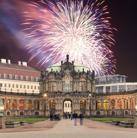 Zwinger Palace (Der Dresdner Zwinger) and holiday fireworks, Dresden, Germany Editorial