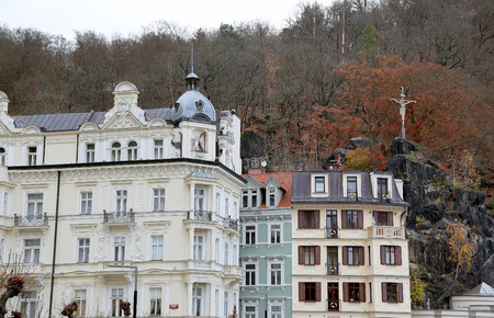 karlovy vary: Karlovy Vary (Carlsbad) -- famous spa city in western Bohemia, very popular tourist destination in Czech Republic Stock Photo
