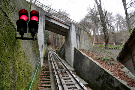 historically: Funicular up to the observation hill above Karlovy Vary (Carlsbad), Czech Republic  --historically famous for its hot springs