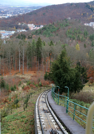 karlovy: Funicular up to the observation hill above Karlovy Vary (Carlsbad), Czech Republic  --historically famous for its hot springs