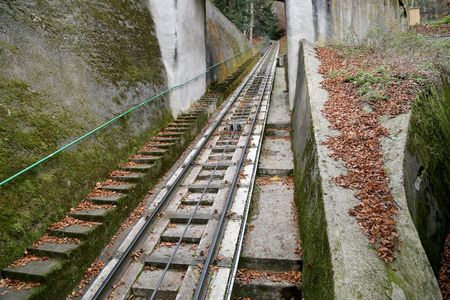 Funicular up to the observation hill above Karlovy Vary (Carlsbad), Czech Republic  --historically famous for its hot springs
