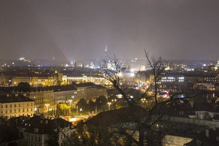 Cityscape of Prague from above(Night view ), Czech Republic