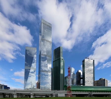 international business center: Little Ring of the Moscow Railways and skyscrapers of the International Business Center (City), Russia. Delovoy Tsentr  railway station