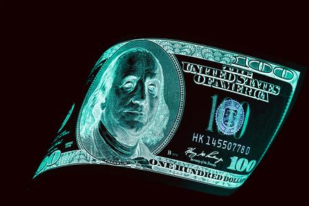 One Hundred Dollar Bills (banknotes ) Close Up, U S