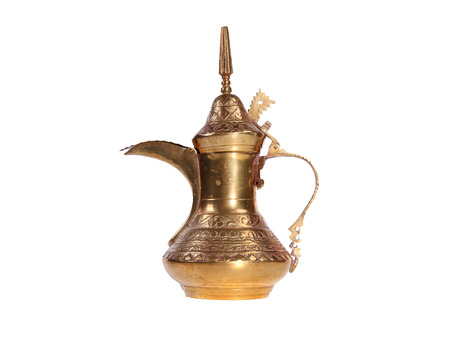 ewer: Copper jug with a traditional Arabic ornaments on a white background Stock Photo