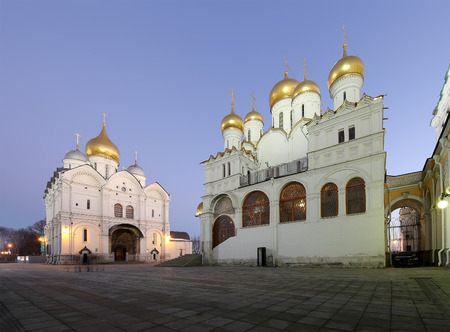 sobor: Cathedral of the Annunciation (Blagoveschensky sobor) at night. Cathedral Square, Inside of Moscow Kremlin, Russia.