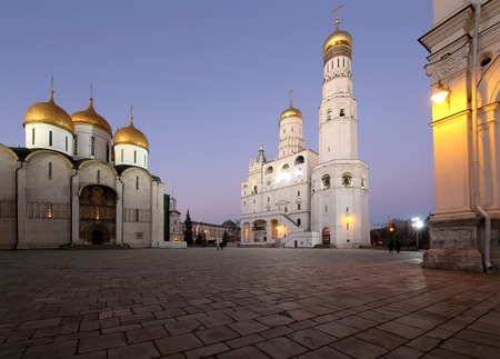 eclecticism: Ivan the Great Bell-Tower complex at night. Cathedral Square, Inside of Moscow Kremlin, Russia. UNESCO World Heritage Site Editorial