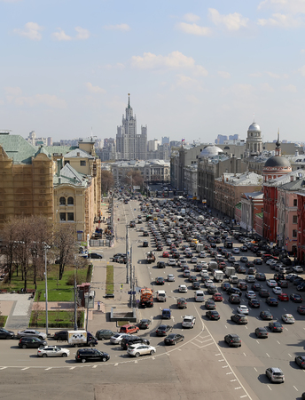 extensive: view of the Moscow from a high point (an observation deck on the building of the Central Childrens Store), Russia  -- opened in April 2015 after extensive reconstruction