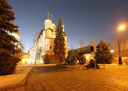 Inside of Moscow Kremlin at night, Russia.