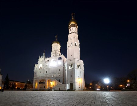 eclecticism: Ivan the Great Bell-Tower complex at night. Cathedral Square, Inside of Moscow Kremlin, Russia Stock Photo