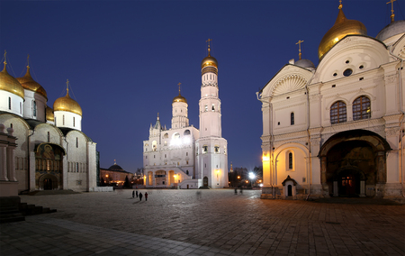 Ivan the Great Bell-Tower complex at night. Cathedral Square, Inside of Moscow Kremlin, Russia Editorial