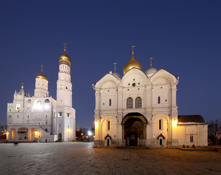 eclecticism: Ivan the Great Bell-Tower complex at night. Cathedral Square, Inside of Moscow Kremlin, Russia Editorial