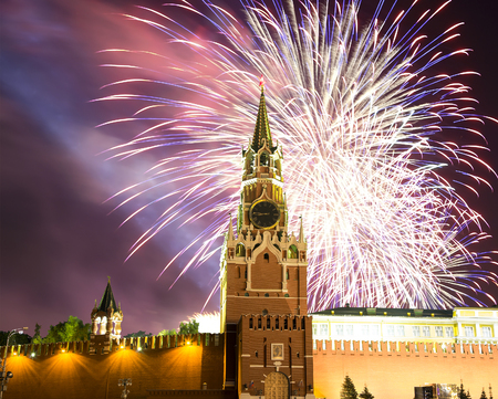 Fireworks over the Moscow Kremlin, Russia Imagens