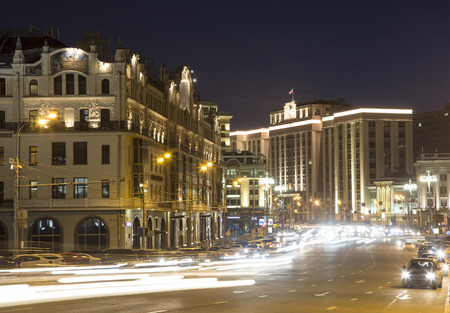 Building of The State Duma of the Federal Assembly of Russian Federation (at night). Moscow, Russia. The address of the building is Okhotny Ryad Street, 12