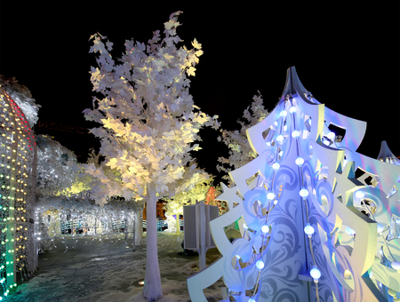 Christmas night Moscow ---  Music Forest on Pushkin Square (Festival Journey to Christmas),  Russia
